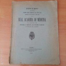 Libros antiguos: DISCURSO DE LA INAUGURACION DEL AÑO 1913 DE KA REAL ACADEMIA DE MEDICINA. MANUEL DE TOLOSA LATOUR. Lote 55793206