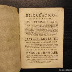 Libros antiguos: HIPOCRATICO GALENICAS THESES, RAMON LLULL, 1766. Lote 57215509