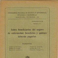 Libros antiguos: AZNAR, SEVERINO Y OTROS. SOBRE BENEFICIARIOS DEL SEGURO DE MATERNIDAD, BENEFICIOS Y QUIÉNES DEBERÁN. Lote 128409487