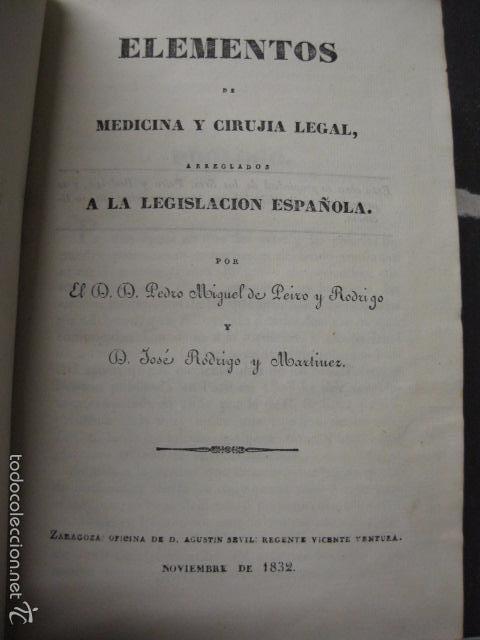 ELEMENTOS DE MEDICINA Y CIRUJIA LEGAL-PEIRO RODRIGO-ZARAGOZA AÑO 1832-DESPLEGABLES-VER FOTOS-(XL-50) (Libros Antiguos, Raros y Curiosos - Ciencias, Manuales y Oficios - Medicina, Farmacia y Salud)