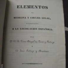 Libros antiguos: ELEMENTOS DE MEDICINA Y CIRUJIA LEGAL-PEIRO RODRIGO-ZARAGOZA AÑO 1832-DESPLEGABLES-VER FOTOS-(XL-50). Lote 58191781