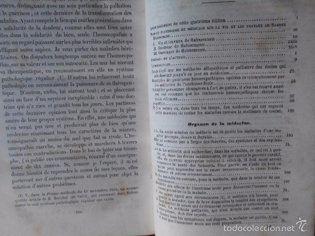 Libros antiguos: Exposition Doctrine Medicale Homoeopathique L'Art de Guèrir. Hahnemann 1856 Homeopatía - Foto 7 - 58766885