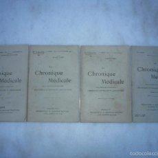 Libros antiguos: LA CHRONIQUE MÉDICALE. 4 NÚMEROS REVISTA DE MEDICINA DEL DOCTOR AGUSTIN CABANÈS. 1906-1934. Lote 59723323