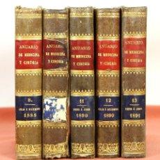 Libros antiguos: 7906 - ANUARIO DE MEDICINA Y CIRUGÍA. 5 VOLUM(VER DESCRIP). VV. AA. EDIT. BAILLY. 1889/1891.. Lote 59899619