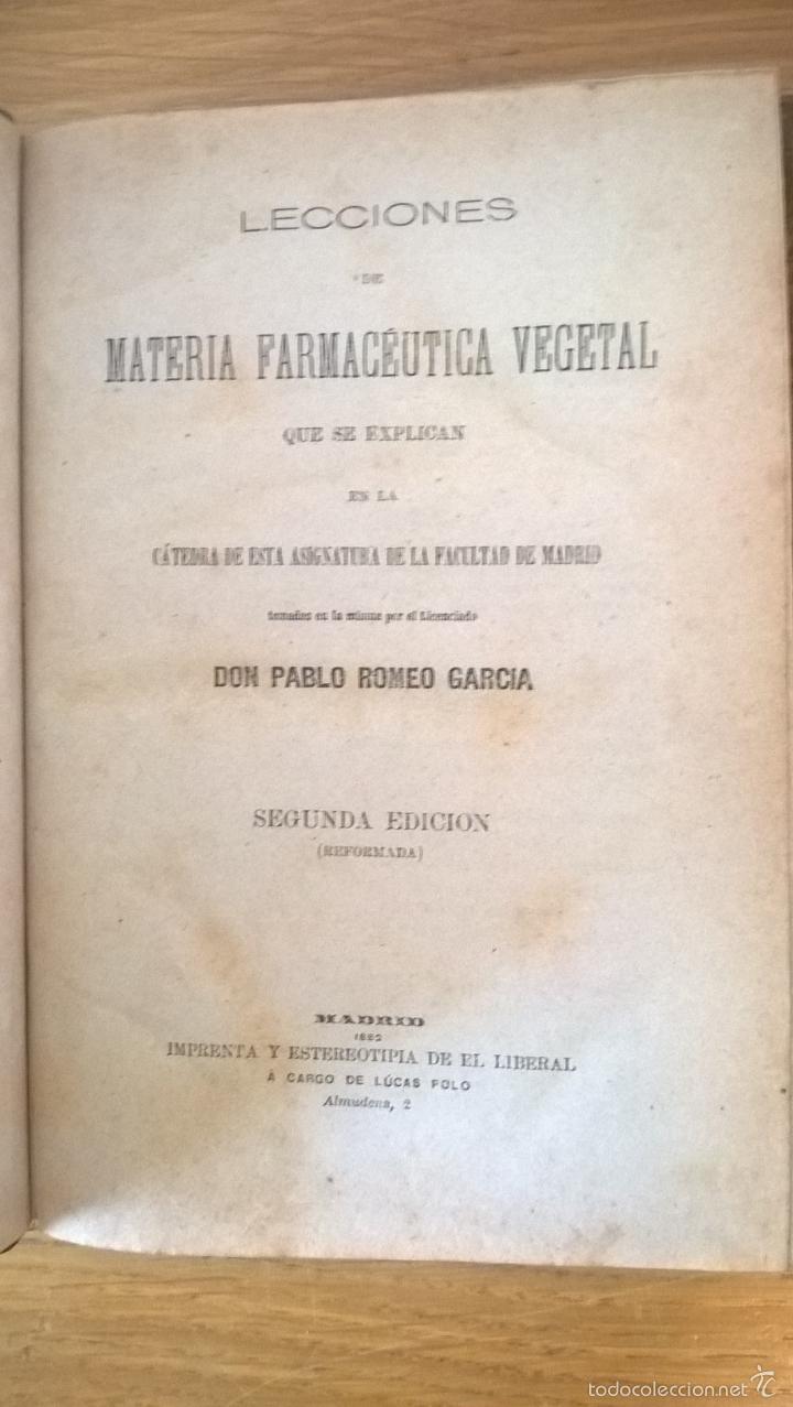 Libros antiguos: Farmacia. Lecciones de farmacéutica vegetal + estudio de medicamentos modernos. 1882-83 - Foto 2 - 60169623