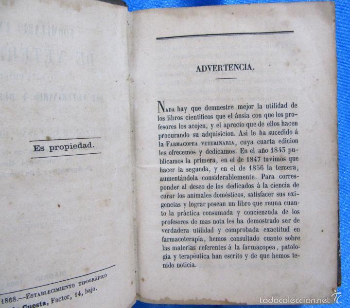 Libros antiguos: FORMULARIO UNIVERSAL DE VETERINARIA. NICOLÁS CASAS DE MENDOZA. LIBRERÍA DE D. PABLO CALLEJA, 1868. - Foto 4 - 60340639