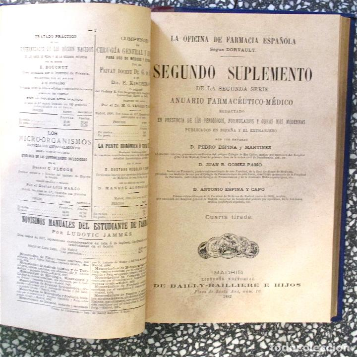 Libros antiguos: Libro antiguo La oficina de farmacia dorvault 1880 bailliere pontes y rosales madrid suplemento - Foto 4 - 62908316