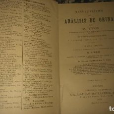 Libros antiguos: RARO LIBRO MANUAL CLÍNICO DE ANÁLISIS DE ORINA POR P.YVON AÑO1894. Lote 65688638