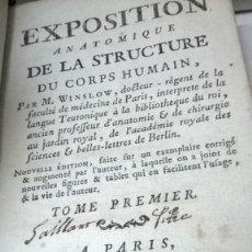 Libros antiguos: EXPOSITION ANATOMIQUE DE LA STRUCTURE DU CORPS HUMAIN - TOME I - WINSLOW - 1775. Lote 70200513