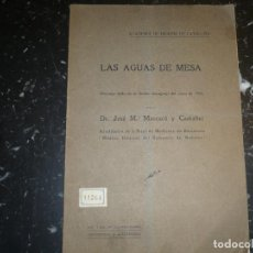 Libros antiguos: LAS AGUAS DE MESA JOSE M.MASCARO 1914 GERONA. Lote 72170515