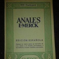 Libros antiguos: ANALES E.MERCK DARMSTAD 1935 CUARTA PARTE. REVISTRA TRIMESTRAL GRATUITA MEDICOS Y CIRCULOS CIENTIFI. Lote 75042303