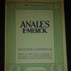 Libros antiguos: ANALES E.MERCK DARMSTAD 1935 TERCERA PARTE. REVISTRA TRIMESTRAL GRATUITA MEDICOS Y CIRCULOS CIENTIFI. Lote 75042363