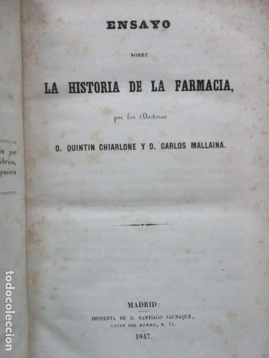 ENSAYO SOBRE LA HISTORIA DE LA FARMACIA. QUINTIN CHIARLONE Y CARLOS MALLAINA. 1847. (Libros Antiguos, Raros y Curiosos - Ciencias, Manuales y Oficios - Medicina, Farmacia y Salud)