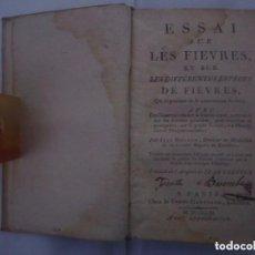 Libros antiguos: EJEMPLAR ORIGINAL EN PERGAMINO DEL S. XVIII.ESSAI SUR LES FIEVRES. PARIS 1761.RARO. Lote 81667968