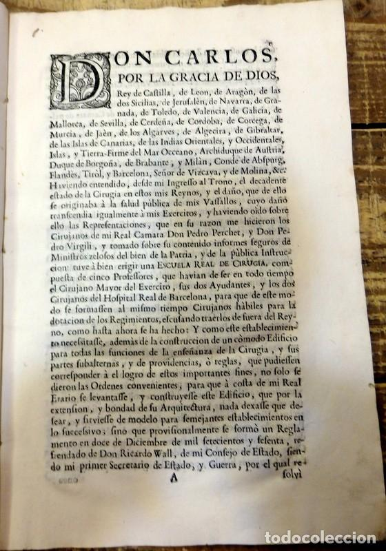 Libros antiguos: año 1764 * COLEGIO DE CIRUJANOS * Estatutos y Ordenanzas de Carlos III * Medicina y Cirugia * 60 pag - Foto 2 - 87742668