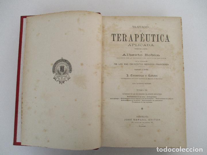 Libros antiguos: Tratado de Terapéutica Aplicada - Alberto Robin - José Espasa Editor - 8 Tomos - Completa - Año 1886 - Foto 56 - 206259152