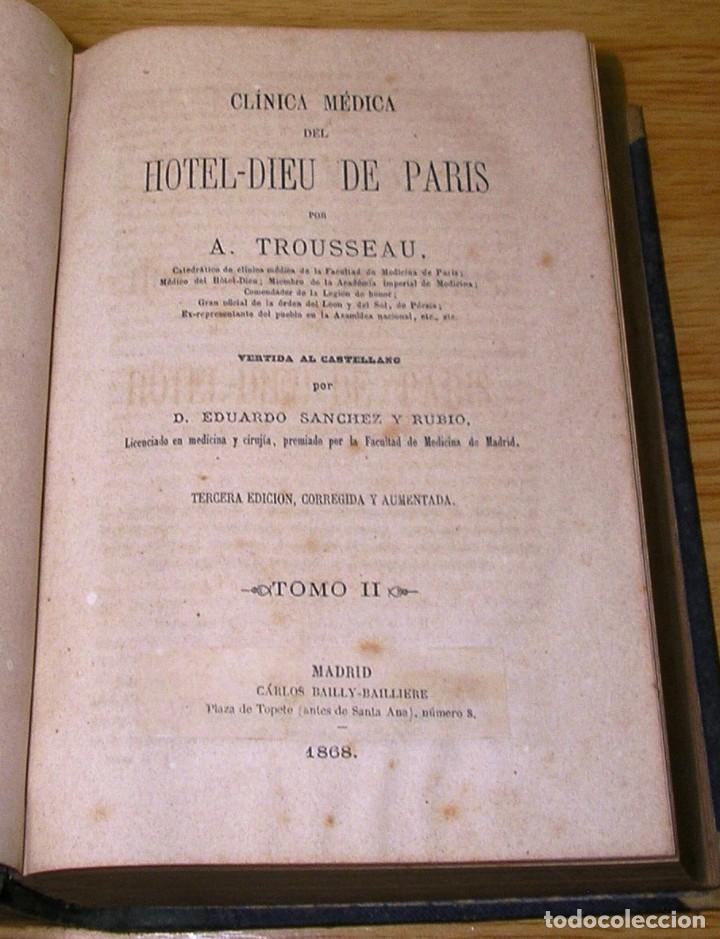 Libros antiguos: CLINICA MEDICA DEL HOTEL-DIEU DE PARIS POR A.TROUSSEAU TOMO II (1868) - Foto 2 - 90228288