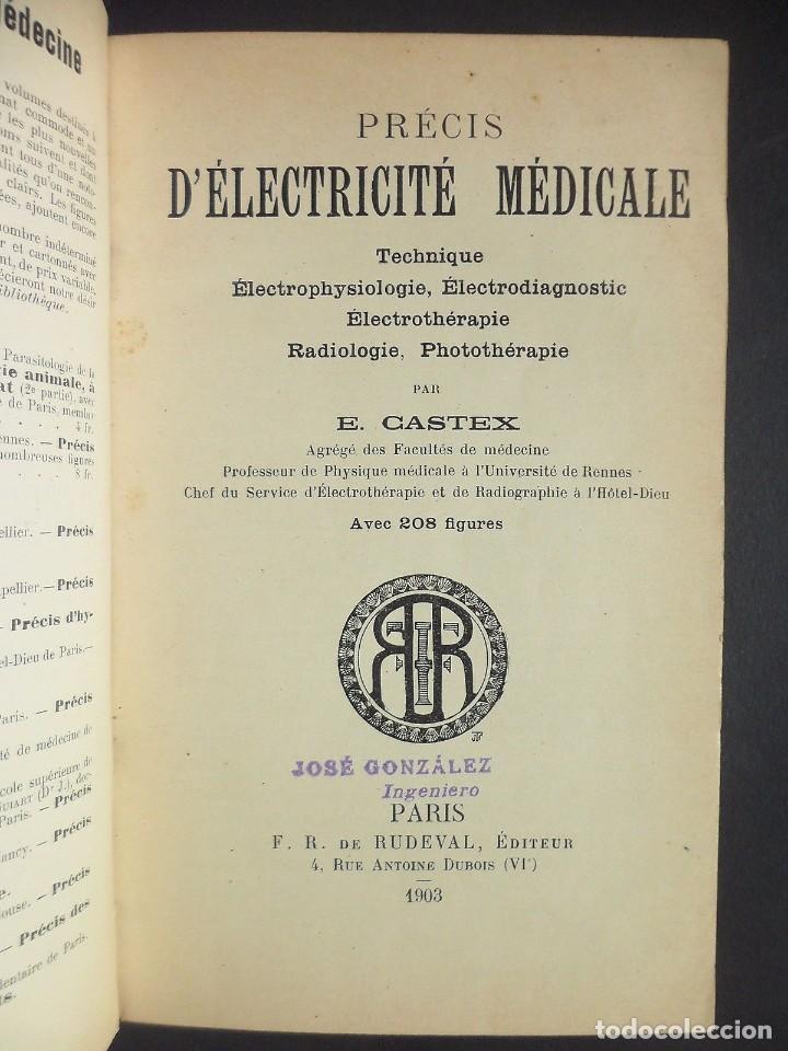 Libros antiguos: 1901 Précis d'électricité médicale Technique d'Électrophysiologie - medicina - Foto 2 - 90471139