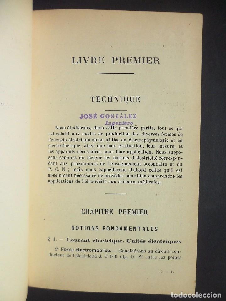 Libros antiguos: 1901 Précis d'électricité médicale Technique d'Électrophysiologie - medicina - Foto 3 - 90471139
