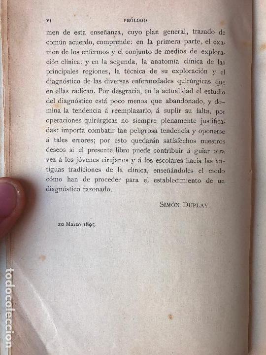 Libros antiguos: MANUAL DE DIAGNÓSTICO QUIRURGICO. ANATOMÍA CLÍNICA 1895 - Foto 5 - 90665785