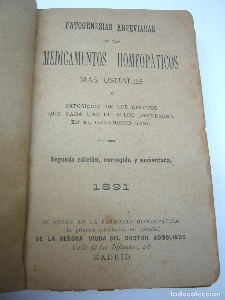 Libros antiguos: XIX Homeopatia . Medicamentos - Primera Farmacia homeopatica de España - Vda. de Somolinos Madrid - Foto 2 - 90676330