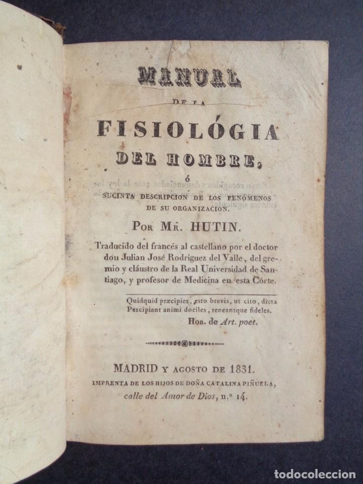 Libros antiguos: 1831 MANUAL DE LA FISIOLOGIA DEL HOMBRE - HUTIN - MEDICINA - psicologia - Foto 10 - 90981615