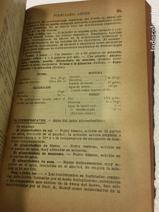 Libros antiguos: Formulario Astier,Quinta Edición Terapéutica y farmacológica1918 - Foto 7 - 91762984