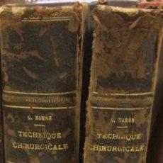 Libros antiguos: MANUAL DE TECHNIQUE CHIRUGICALE PORG.MARIOS. Lote 91766949
