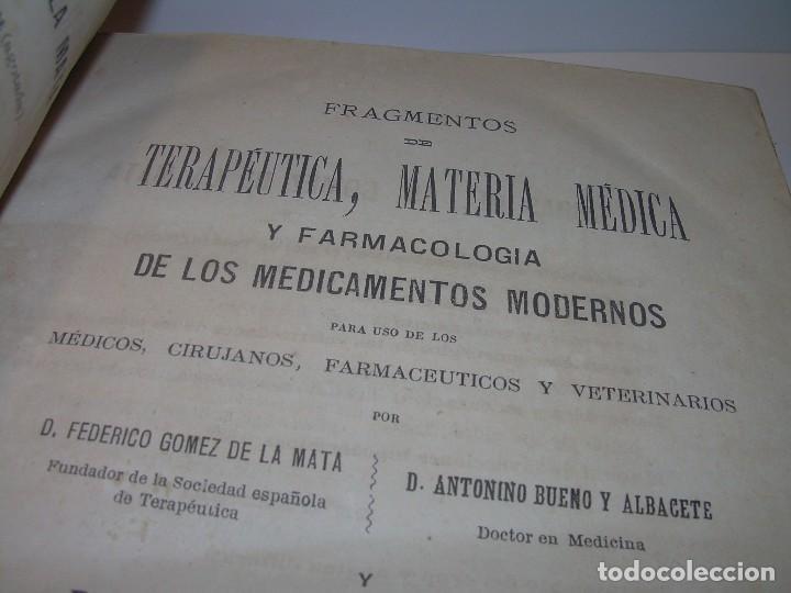 FARMACOLOGIA DE LOS MEDICAMENTOS - TERAPEUTICA - MATERIA MEDICA....AÑO..1.882 (Libros Antiguos, Raros y Curiosos - Ciencias, Manuales y Oficios - Medicina, Farmacia y Salud)