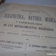 Libros antiguos: FARMACOLOGIA DE LOS MEDICAMENTOS - TERAPEUTICA - MATERIA MEDICA....AÑO..1.882. Lote 92037880