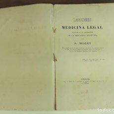 Libros antiguos: LECCIONES DE MEDICINA LEGAL. J. BIALET. IMPRENTA LA VELOCIDAD. 1885.. Lote 92345450