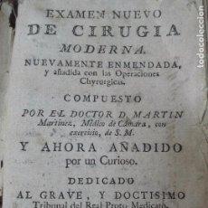 Libros antiguos: EXAMEN NUEVO DE CIRUGIA MODERNA DOCTOR MARTIN 1792. Lote 92775930