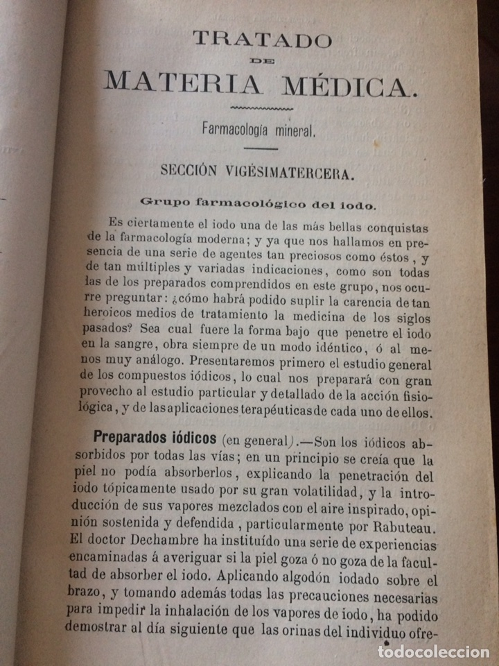Libros antiguos: Tratado de la materia medica Dr.J.B Fonssagrives - Foto 4 - 92862268