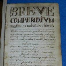 Libros antiguos: (MF) LIBRO MANUSCRITO DE MEDICINA S.XVII , 288 PAG , BREVE COMPENDIUM MEDINAE EX CALENICIS. Lote 94674039