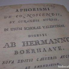 Libros antiguos: LIBRO TAPAS PERGAMINO....MEDICINA...APHORISIMI CURANDIS MORBIS...AÑO.1.791. Lote 95415891