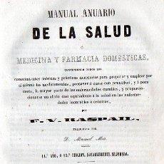Libros antiguos: RASPAIL : MANUAL ANUARIO DE LA SALUD (1859) . Lote 96604039