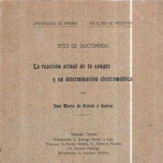 Libros antiguos: LA REACCIÓN ACTUAL DE LA SANGRE Y SU DETERM. ELECTROMÉTRICA.J.M. DE CORRAL Y GARCÍA. 1914. Lote 100283867