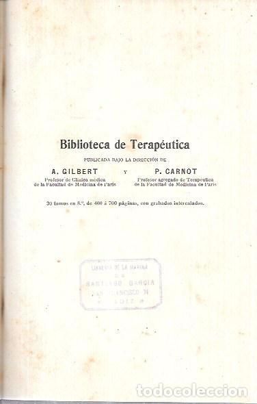Libros antiguos: OPOTERAPIA. MEDICAMENTOS ANIMALES. BIBL. DE TER. GILBERT Y CARNOT. DR. PABLO CARNOT. SALVAT Y Cª - Foto 2 - 172638379