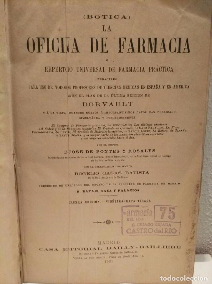 Libros antiguos: Botica - La Oficina de Farmacia - 1921 - Foto 2 - 103165719