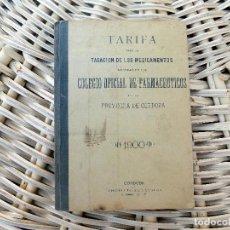 Libros antiguos: COLEGIO OFICIAL DE FARMACEUTICOS. CORDOBA. 1900. TARIFA. Lote 103680127