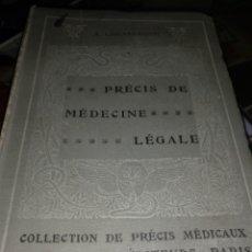Libros antiguos: PRECIS DE MEDICENE LEGALE A.LACASSAGNE 1906. Lote 103900787