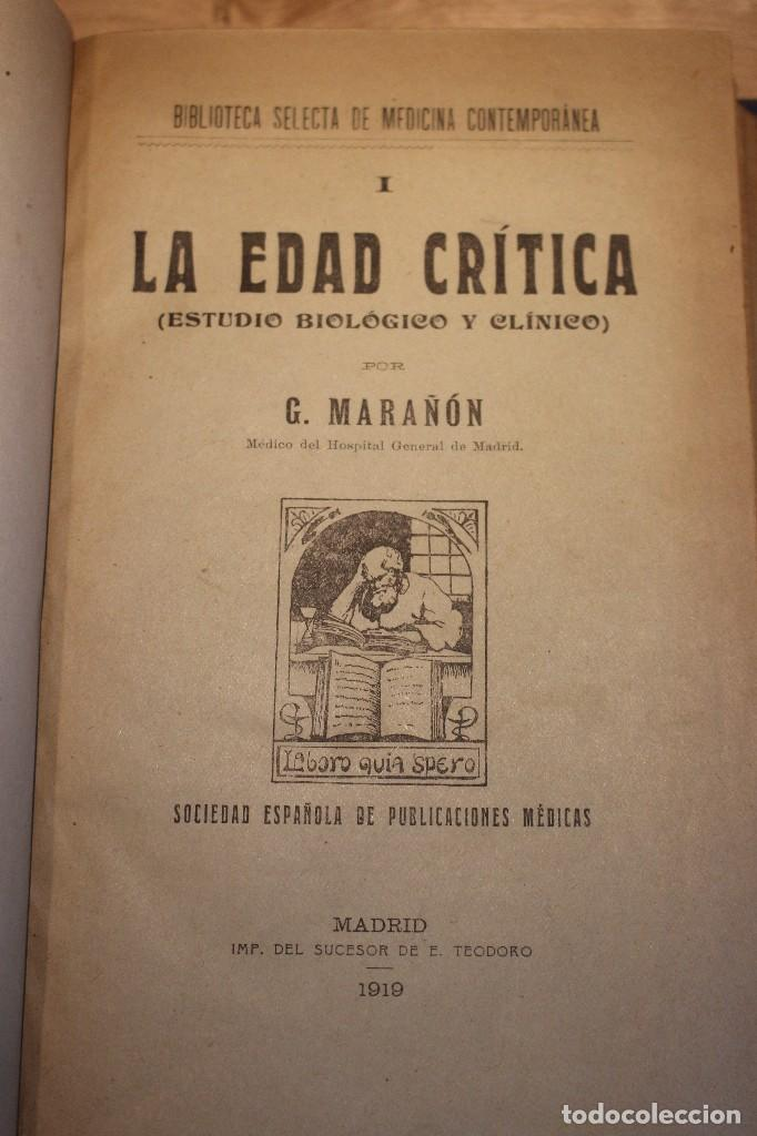 Libros antiguos: la edad critica 1919 Gregorio Marañon - Foto 3 - 104099043
