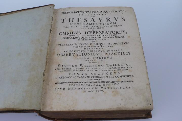 Libros antiguos: DANIELE WILHELMO TRILLERO- DISPENSATORIUM PHARMACEUTICUM UNIVERSALE SIVE THESAURUS- 1764 - Foto 5 - 53772747