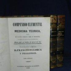 Libros antiguos: (MF) D FRANCISCO LLORCA Y FERRANDIZ - COMPENDIO ELEMENTAL DE MEDICINA TEORICA , VALENCIA 1842. Lote 105886235