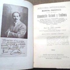 Libros antiguos: MANUAL PRÁCTICO DE ALIMENTACIÓN RACIONAL Y CRUDÍVORA JOSÉ CASTRO 1925 2A ED MAUCCI EUTROFOLÓGICA. Lote 106591283