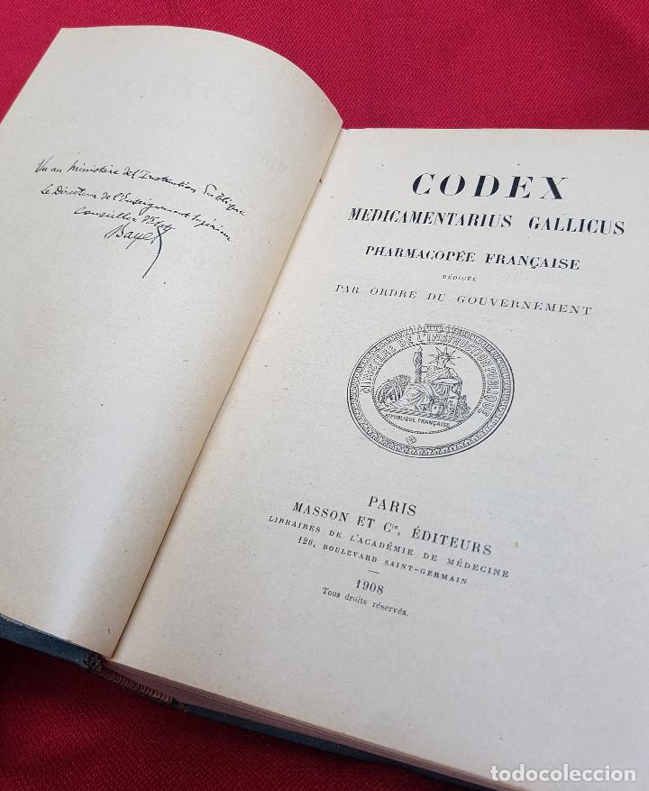 CODEX MEDICAMENTARIUS GALLICUS PHARMACOPÉE FRANÇAISE 1908 (Libros Antiguos, Raros y Curiosos - Ciencias, Manuales y Oficios - Medicina, Farmacia y Salud)