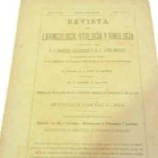 Libros antiguos: REVISTA DE LARINGOLOGIA, OTOLOGIA Y RINOLOGIA BARCELONA OCTUBRE 1890 TOMO VI N 4.. Lote 108727155