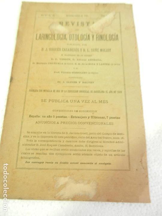 REVISTA DE LARINGOLOGIA, OTOLOGIA Y RINOLOGIA BARCELONA FEBRERO 1891 TOMO VI N 8. (Libros Antiguos, Raros y Curiosos - Ciencias, Manuales y Oficios - Medicina, Farmacia y Salud)