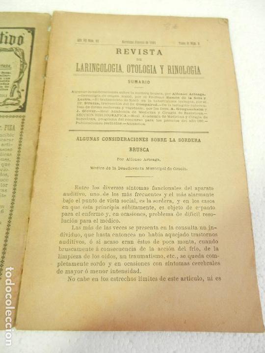 Libros antiguos: REVISTA DE LARINGOLOGIA, OTOLOGIA Y RINOLOGIA BARCELONA FEBRERO 1891 TOMO VI N 8. - Foto 2 - 108727491