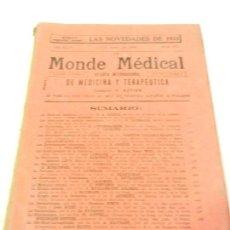 Libros antiguos: LE MONDE MÉDICAL REV. INTERNACIONAL DE MEDICINA Y TERAPÉUTICA ED. ESPAÑOLA N 875 1933.. Lote 108750783